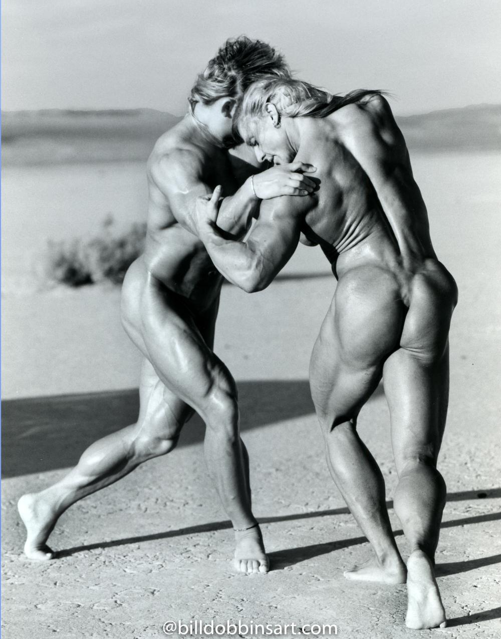 Karla Nelson and Joanne Lee Desert Wrestle 19X22 Print