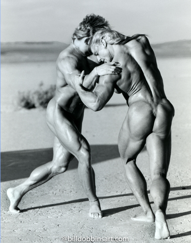 Karla Nelson and Joanne Lee Desert Wrestle 19X22 Print
